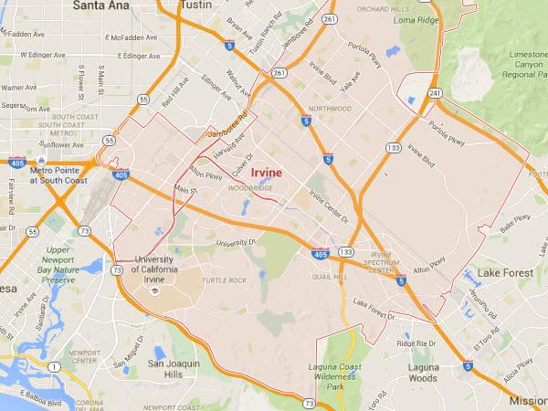 Irvine plumbing service area map