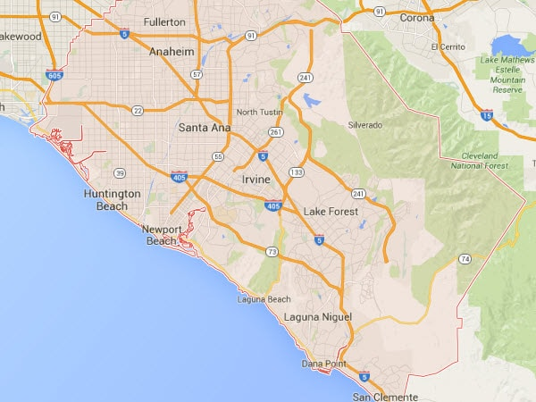 Orange County plumbing service area map