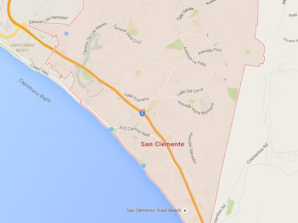 San Clemente plumbing service area map